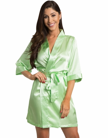 Lime Green Satin Kimono Bridal Party Robe