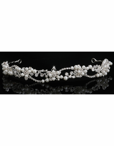 En Vogue Bridal Crystal & Pearl Tiara 815