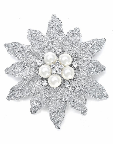Pearl Etched Flower Bridal Brooch - Wedding Brooch