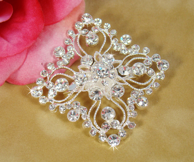 Vintage Square Intricate Crystal Brooch