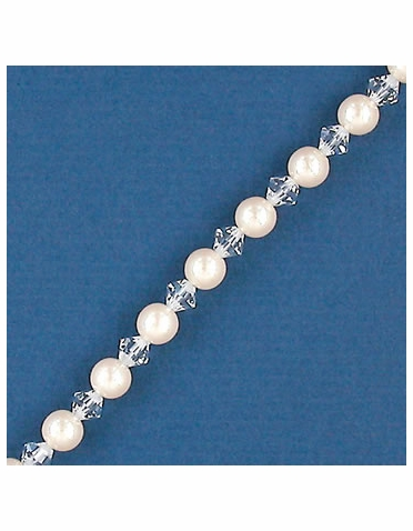 Alternating Ivory Pearl and Crystal Bridal and Bridesmaid Bracelet