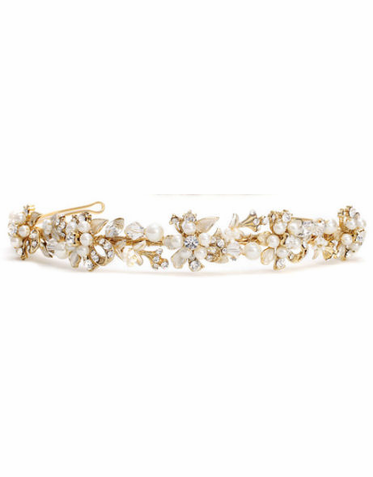 Tiara with Eyelets in Silvery Gold