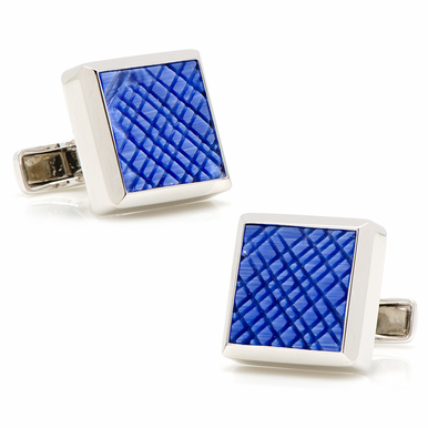 Sterling Silver Catseye Etched Plaid Cufflinks  Five Elegant Colors