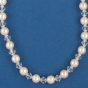 Alternating Ivory Pearl and Crystal Bridal and Bridesmaid Necklace