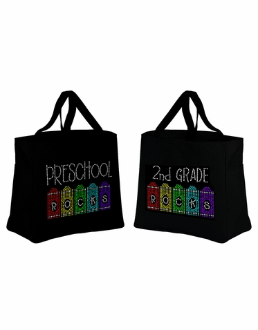 School Rocks Tote Bag with Crayon Design