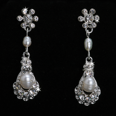 En Vogue Crystal & Pearl Bridal Earrings E821