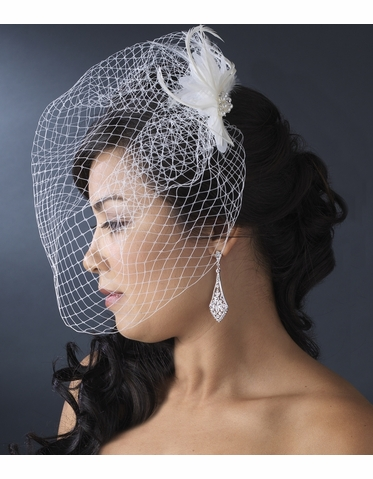 Feather Fascinator with Birdcage Veil
