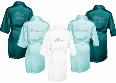 Satin and Bling Bridal Party Getting Ready Robe