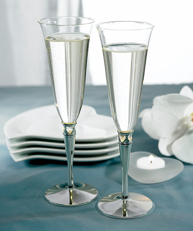 Silver Plated Wedding Goblets with Cut Out Hearts