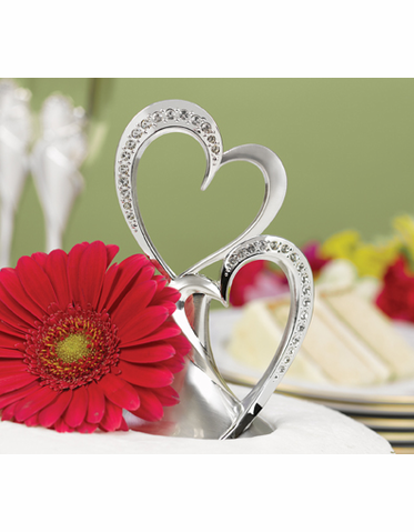 Sparkling Love Double Hearts Cake Topper with Sparkling Rhinestones
