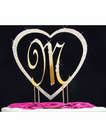 Single Crystal Heart with Initial Cake Topper