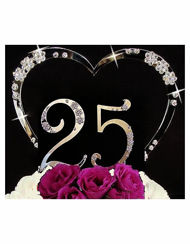 Crystal Heart with Numbers Cake Topper for Birthday, Anniversary, Quinceanera