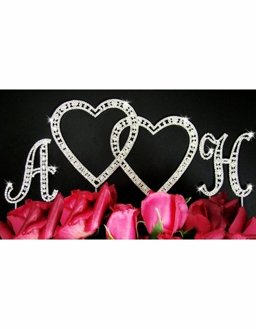 Double Heart and Two Initials Vintage Style Crystal Cake Topper