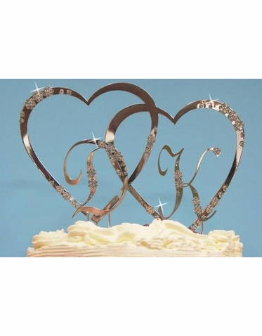 Crystal Double Heart Monogram Cake Top