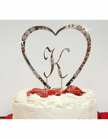 Crystal Single Heart With Initial Cake Topper