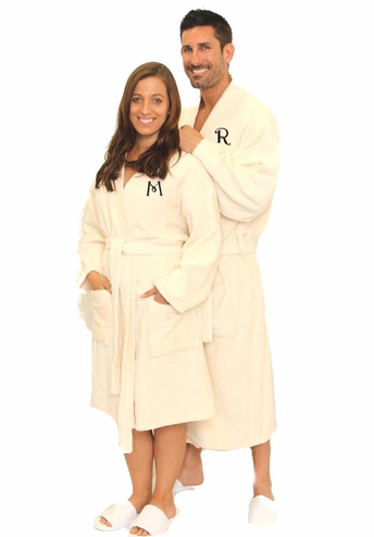 Monogrammed Robe in Ivory Terry - Three Sizes Available