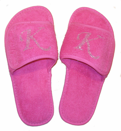 Personalized Slippers - Monogrammed Slippers with Crystals