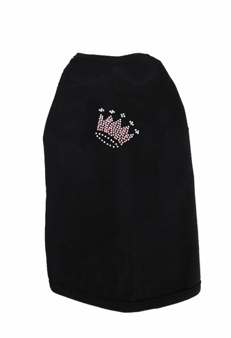 Custom Rhinestone Crown Dog T-Shirt