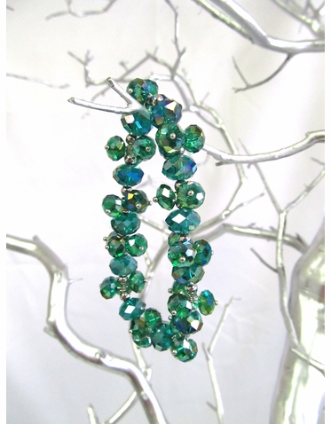 Iridescent Green Glass Crystal Bead Stretch Bracelet