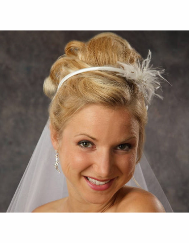 Satin Headband with Feather Spray 8053