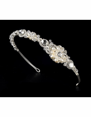 Silver, Crystal and Freshwater Pearl Headband