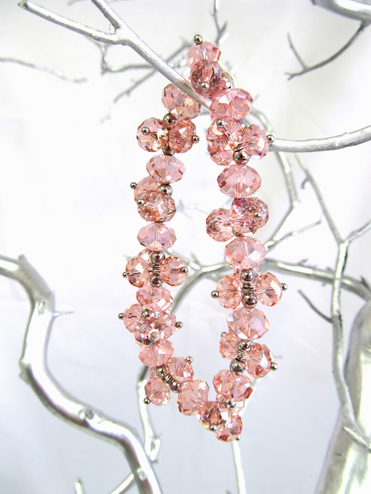 Light Pink Glass Crystal Bead Stretch Bracelet