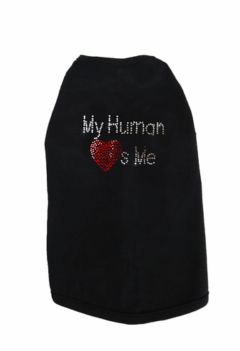 My Human Loves Me Custom Rhinestone Dog Tee