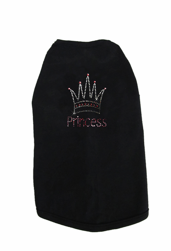 Custom Princess and Crown Rhinestone Dog T-Shirt