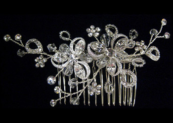 Rhinestone Flower Hair Comb