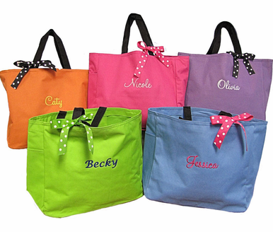 Bridesmaid Tote Bag or Monogrammed Tote Bag with Optional Bow