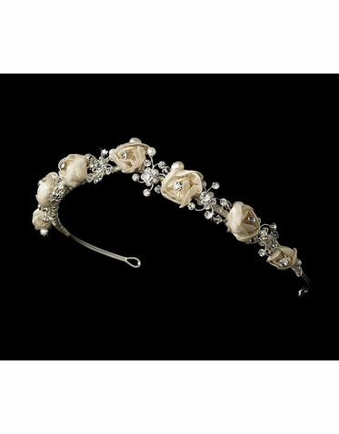 Vintage Style Rose and Crystal Headband - Bridal Headband