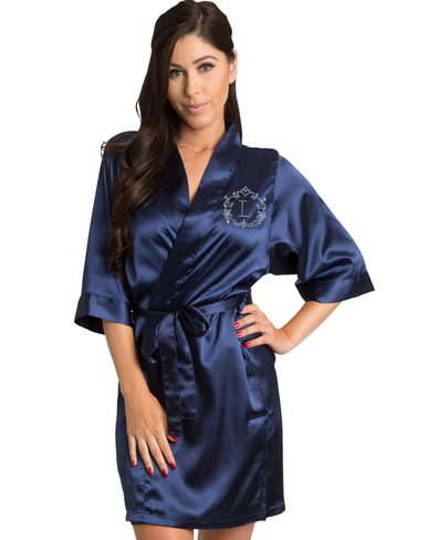 Rhinestone Embellished Satin Robe with a Single Initial Inside of a Gorgeous Scroll Frame