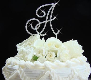 Fancy Crystal Cake Top Letters
