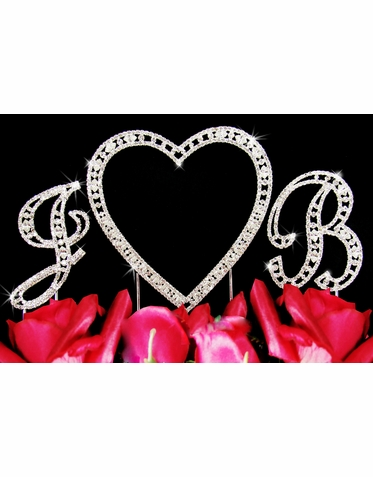 Crystal Heart Cake Topper with Two Initials
