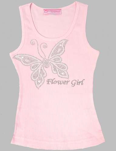 White Butterfly Flower Girl Tank Top or T-Shirt