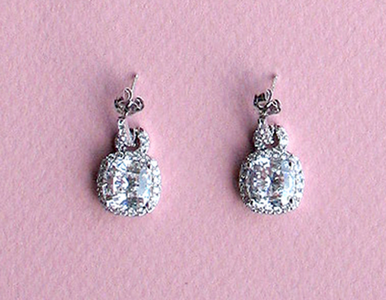 Cubic Zirconia Jewelry Collection Elegant Square-shaped Earrings
