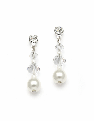 Hand Crafted Pearl And Austrian Crystal Earrings In 26 Custom Colors