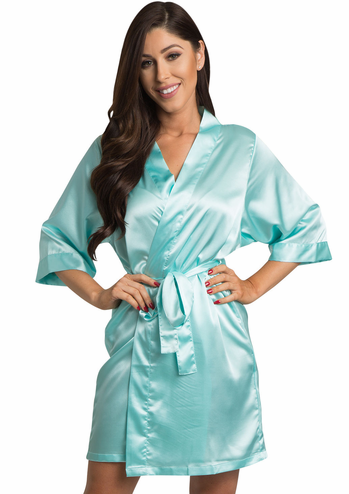 Aqua Tiffany Blue Satin Bridesmaid and Maid of Honor Robes