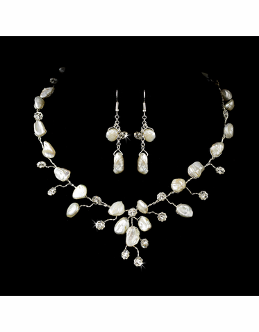 Keshi Pearl Necklace and Earrings Set