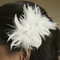 Double Flower Feather And Swarovski Crystal Fascinator