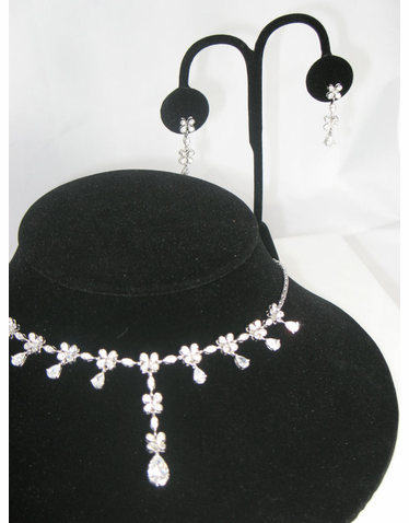 Cubic Zirconia Crystal Jewelry Set with Flowers