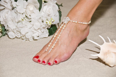 Forever Pearls Barefoot Sandals - Beach Wedding Foot Jewelry