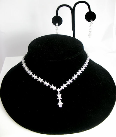 Cubic Zirconia Floral Crystal Jewelry Set - 3 Piece Set