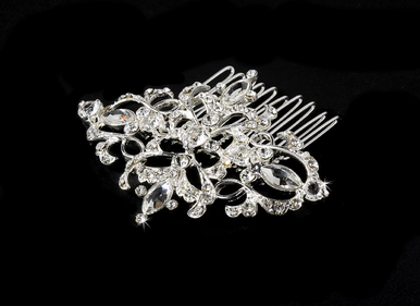 Silver Bridal Rhinestone Brooch and Hair Comb