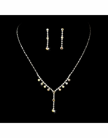 Sparkling Silver Clear Bridal Jewelry Set NEB 1092