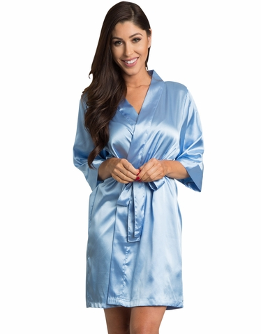 Sky Blue Satin Kimono Bridal Party Robe