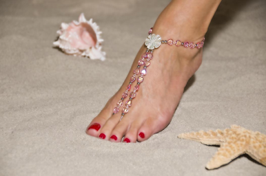 Hand-crafted Soft Pink Heart Barefoot Sandals