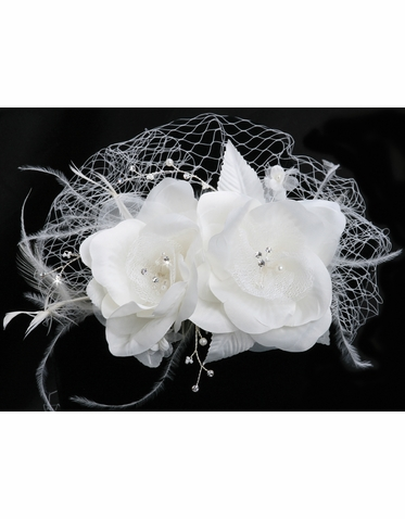 CLEARANCE: En Vogue Bridal Birdcage Veil with Flower Comb VF102