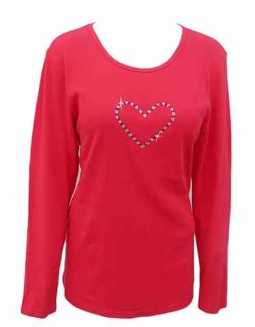Crystal Valentine T-Shirt or Tank Top with Red and Clear Heart