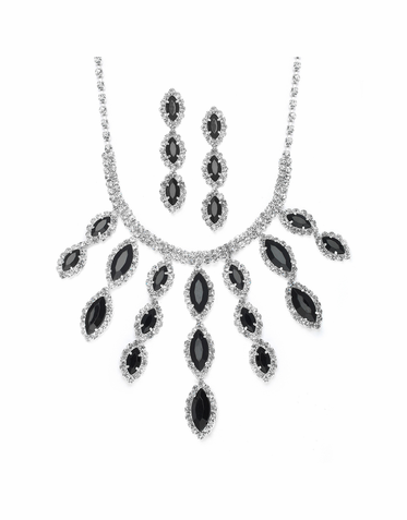 Gorgeous Rhinestone Cascade Necklace Set  Available In Black, Fuchsia And Crystal